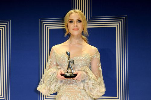 Jessica Marais with her Silver Logie for Best Actress last year. Picture: AAP