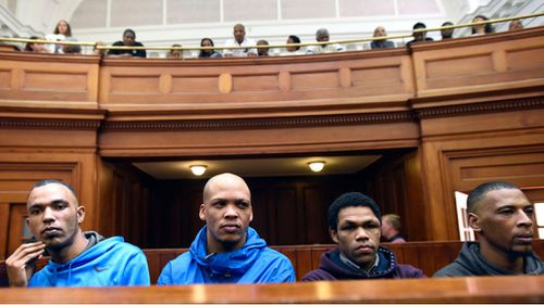 Vernon Witboii, Geraldo Parsons and Eben Van Niekerk (left to right) will all serve sentences over 100 years for the crimes. Nashville Julius will spend 22 years in jail for Hannah's robbing and kidnapping.
