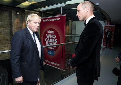 Prince William and Boris Johnson The Sun's Who Cares Wins Awards