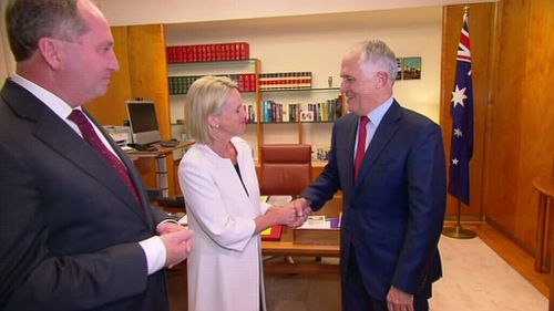Mr Joyce and Ms Nash met with Prime Minister Malcolm Turnbull after the meeting. (9NEWS)