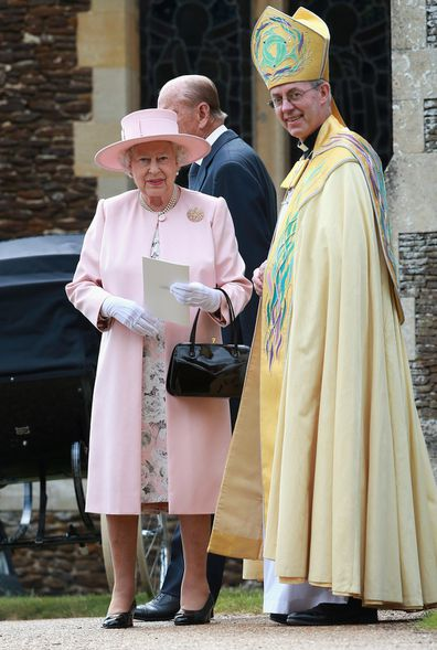 The archbishop pictured with Queen Elizabeth in 2015.