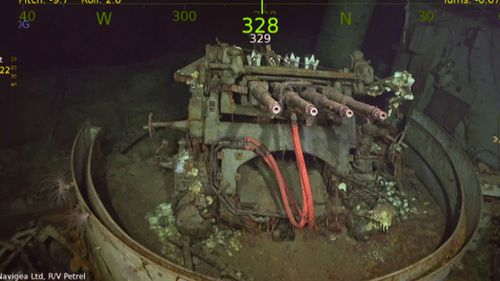 One of the guns on the wreck of the USS Hornet. (R/V Petrel).