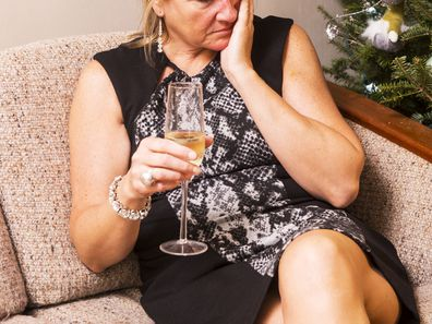Woman drunk at Christmas.