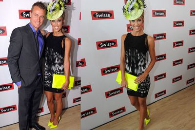 Lleyton Hewitt and Bec Hewitt brought some fluoro action to the Birdcage.<br/><br/>Image: AAP