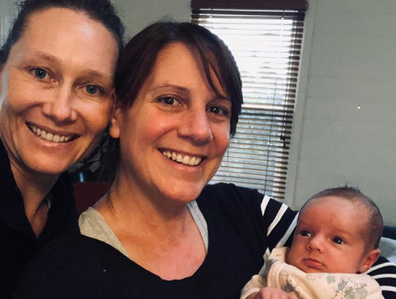 Sam Stosur and partner Liz with daughter.