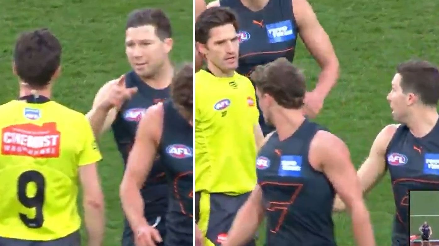Toby Green has come under scrutiny for making contact with the umpire in GWS' win over the Swans.