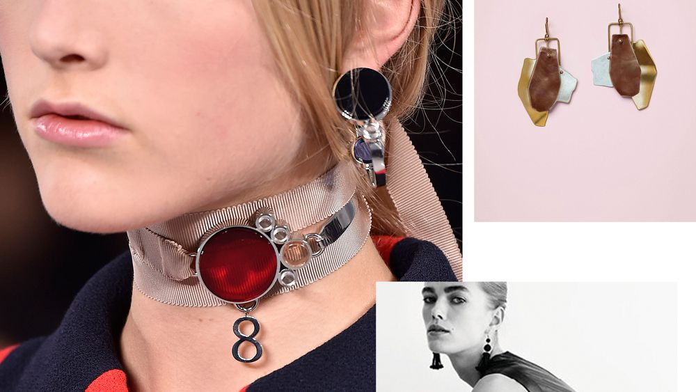 Say something this party season with architectural statement earrings, necklaces and cuffs.