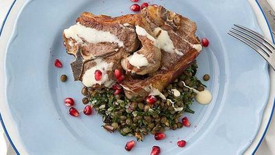 "Recipe:&nbsp;<a href=""http://kitchen.nine.com.au/2016/05/05/09/58/george-calombaris-lamb-loin-chops-with-a-cypriot-grain-salad"" target=""_top"" draggable=""false"">George Calombaris' lamb loin chops with a Cypriot grain salad</a>"