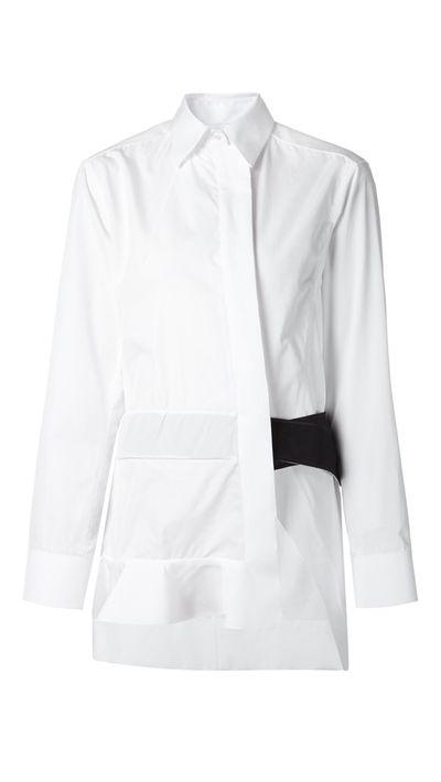 """<p><a href=""""http://www.farfetch.com/au/shopping/women/paco-rabanne-ruffled-hem-asymmetric-shirt-item-11026443.aspx?storeid=9467&amp;ffref=lp_78_2_"""" target=""""_blank"""">Ruffled Hem Assymetric Shirt, $2,499, Paco Rabanne</a></p>"""