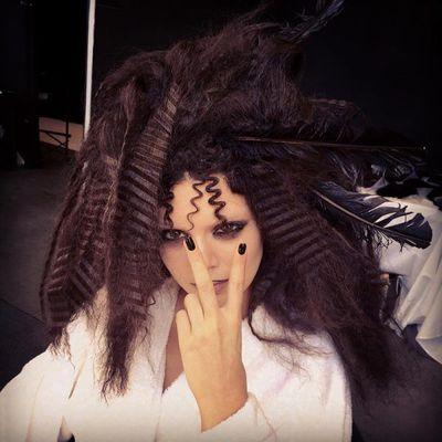 Supermodel Kendall Jenner getting her crimp on for a photo shoot in September, 2017