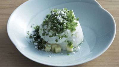 Supernormal's poached meringue and shiso