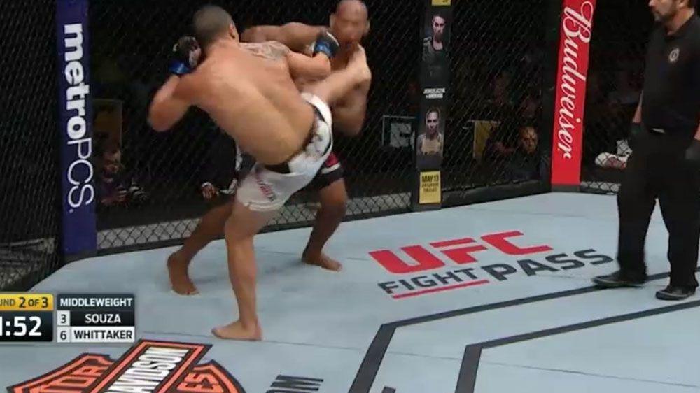 "Australian UFC star Robert Whitaker scores TKO victory of Ronaldo ""Jacare"" Souza"