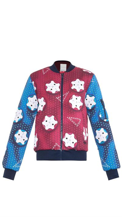 "<a href=""http://www.matchesfashion.com/intl/products/adidas-Originals-By-Mary-Katrantzou-Contrast-print-bomber-jacket-1004123"">Contrast-print Bomber Jacket, $354.18 approx, Adidas Originals by Mary Katrantzou</a>"