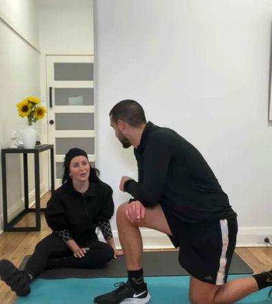 Michael takes Martha through one of his workouts.