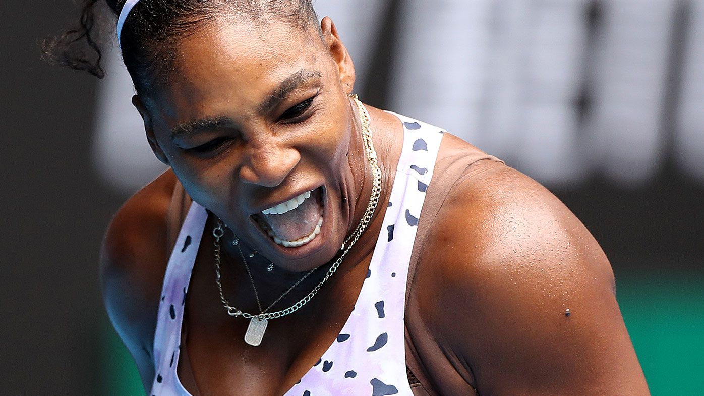 Serena Williams of the United States celebrates a point during her Women's Singles first round match