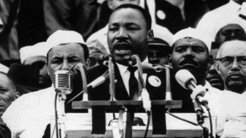 """Dr King delivers his famous """" I Have A Dream"""" speech in 1963. (AAP)"""
