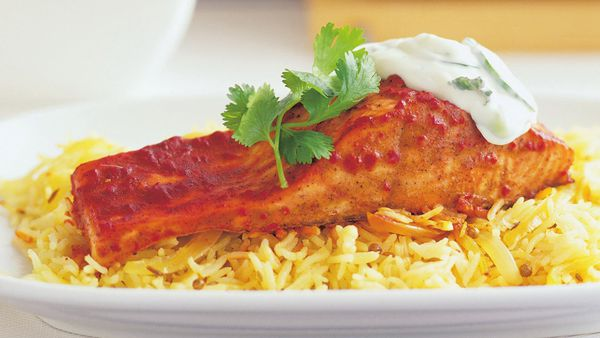Tandoori salmon with pilaf and raita