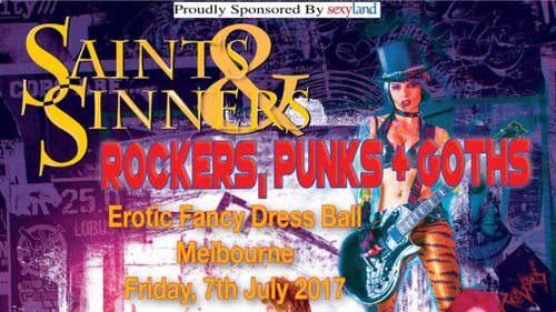 The official event flyer for the Ball. (Saints and Sinners Ball)