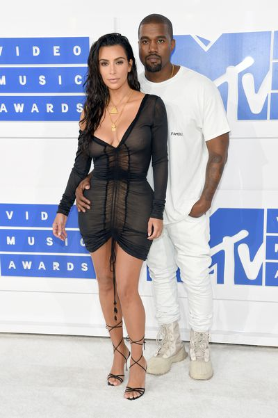 Kanye West and Kim Kardashian West attend the 2016 MTV Video Music Awards in New York City
