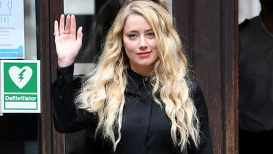 Amber Heard arrives at the Royal Courts of Justice, the Strand on July 28, 2020 in London, England
