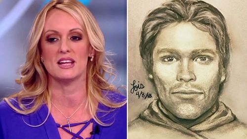 A screenshot of Stormy Daniels and the composite sketch of the man she says threatened her to keep quiet about her alleged relationship with Donald Trump.