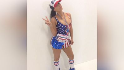 Kim Kardashian celebrated the day by donning her most patriotic outfit. (Instagram)