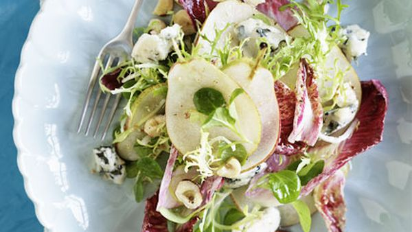 Witlof, pear, Roquefort and hazelnut salad