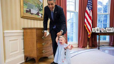 It's hard to tell which of these two is more excited in this photo. (Flickr/White House)