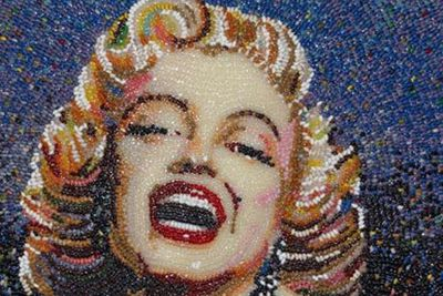 The screen siren immortalised...in thousands of jelly beans!