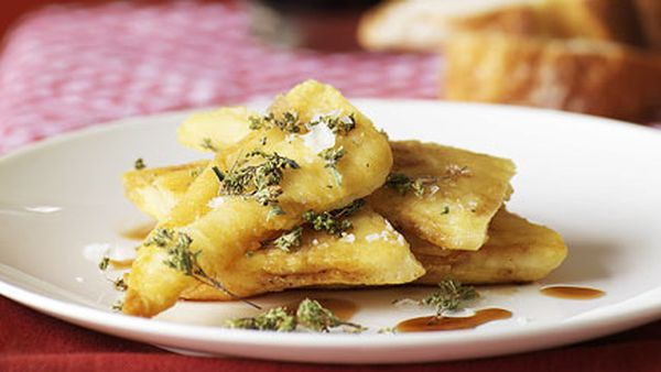 Fried provolone with red wine vinegar