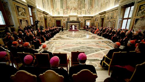 Pope Francis attends the traditional greetings to the Roman Curia, at the Vatican.