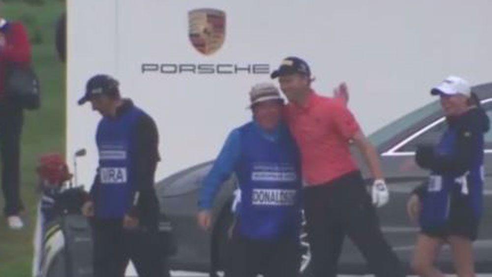 German golfer Marcel Siem celebrates his Porsche-winning shot. (Fox Sports)