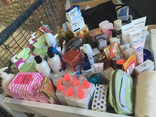 Some of the products donated to the Beauty Bank.