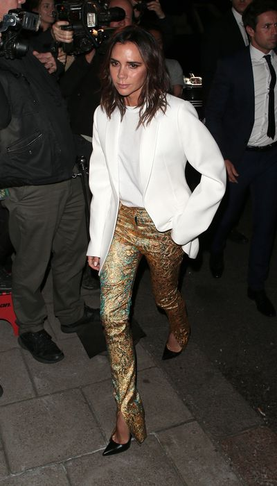 Victoria Beckham seen attending s/s 2019: Vogue X Victoria Beckham - party at Mark's Club during London Fashion Week.