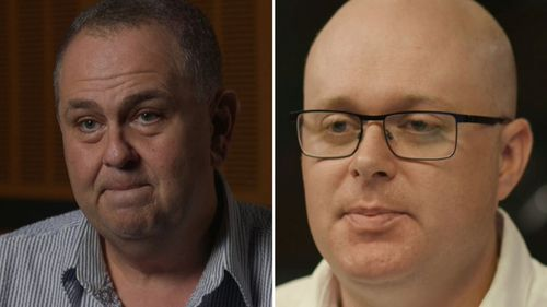 Former colleagues Andrew Moore (l) and Chris Bowen (r) made bullying allegations against Ray Hadley on ABC's 7.30 tonight.