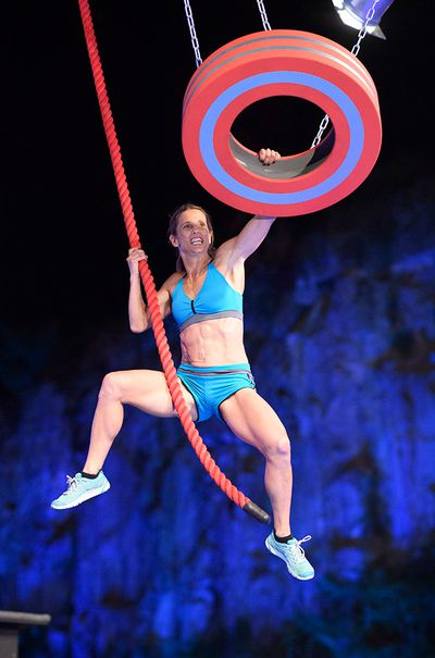 Inspirational mother and fitness guru Lisa Parkes taking on the Tyre Swing.