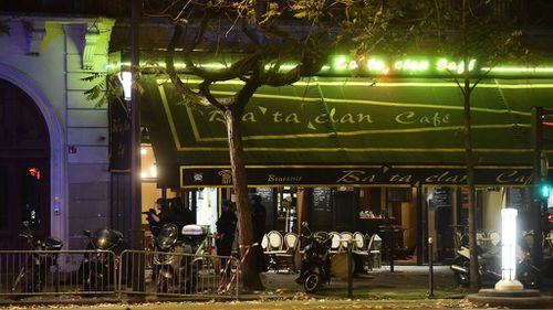 Damage outside the Bataclan concert hall. (AAP)