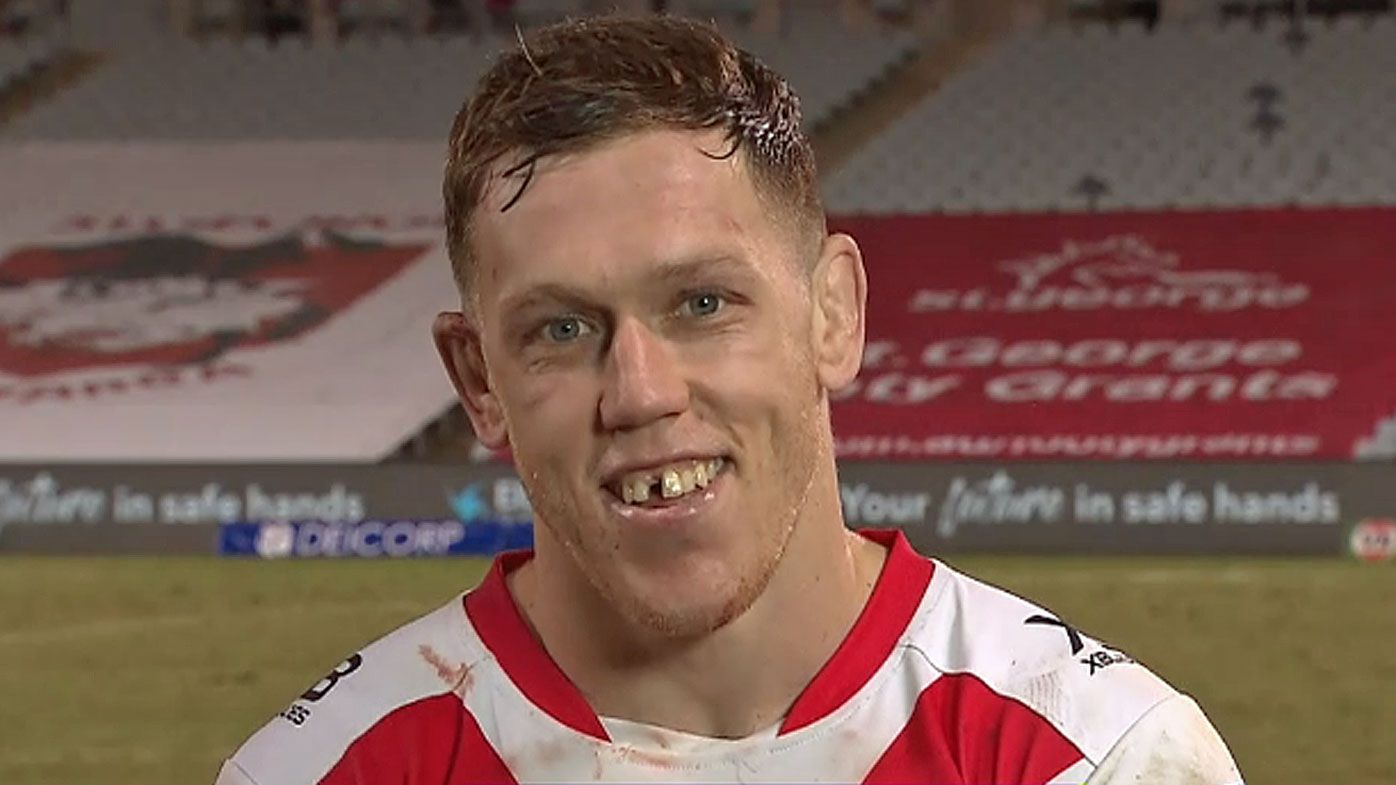 Cameron McInnes sported a toothless grin after the Dragons' much-needed win