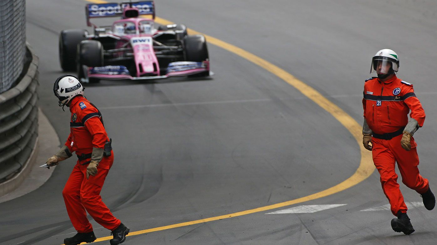 Sergio Perez had a narrow miss when marshals were on the track at the Monaco Grand Prix.