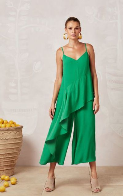 "<p><a href=""https://misterzimi.com/products/green-frida-jumpsuit"" target=""_blank"" draggable=""false"">Mister Zimi green silk frida jumpsuit</a>, $29</p>"