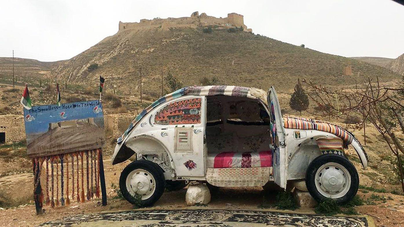 smallest hotel   world    vw beetle   jordan desert