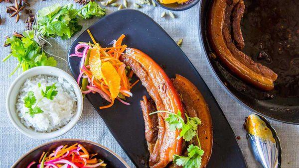Alatini's Braised Pork, Coconut Rice and Pickled Vegetables