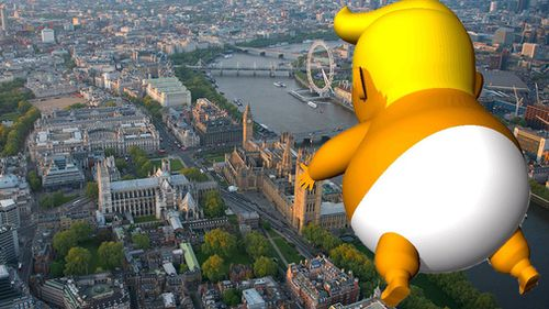 The six-metre blimp will fly over the houses of parliament. Picture: Trump Baby UK