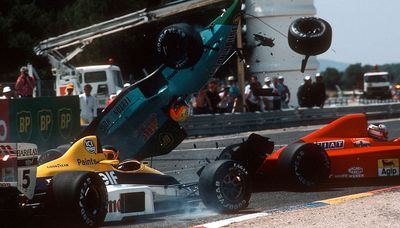 Brazilian Mauricio Gugelmin in a crash at the 1989 French Grand Prix