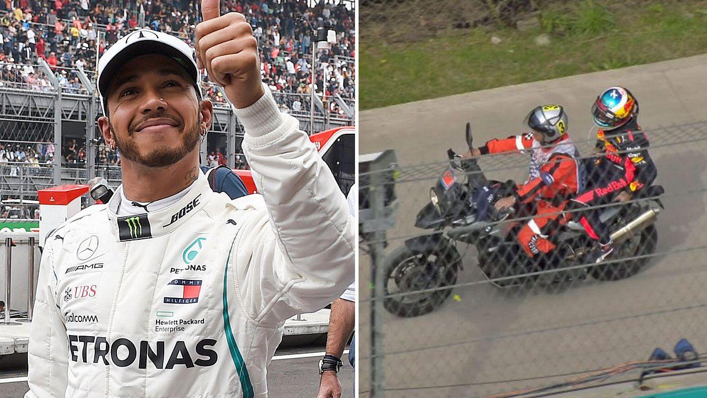 Lewis Hamilton has claimed his fifth world title, while Daniel Ricciardo failed to finish in Mexico.