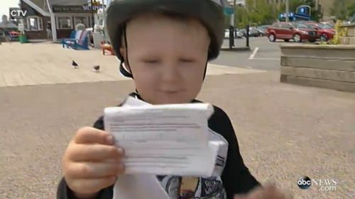 Declan with his first parking ticket.