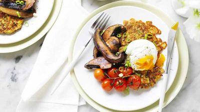 "Recipe:&nbsp;<a href=""http://kitchen.nine.com.au/2017/03/31/15/18/zucchini-fritters-with-portabella-mushrooms-and-poached-egg"" target=""_top"">Zucchini fritters with portabella mushrooms and poached egg</a>"