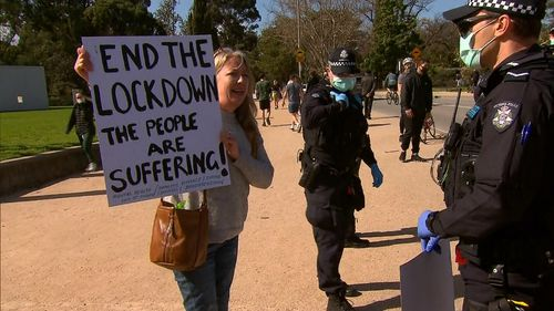 One protester near the Shrine of Remembrance during anti-lockdown protests in Melbourne.