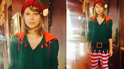 Celebrities all around the world have shared their Christmas cheer on social media. Singer Taylor Swift posted this photo of her dressed up as an elf. (Instagram)