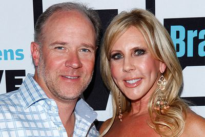 """Here's one of the housewives doing the dirty for once. Orange County housewife Lauri Peterson started spreading rumors about Vicki  Gunvalson creating on her husband, after allegedly catching her in bed with a man <i>and</i> a woman. <br/><br/>Vicki has since split with her husband and taken up with new hub Brook Ayers (pictured), one of her alleged flings.  He doesn't sound like much of a keeper though, with audio of a drunken phone call being released of him calling Vicki a """"f**king whore"""""""